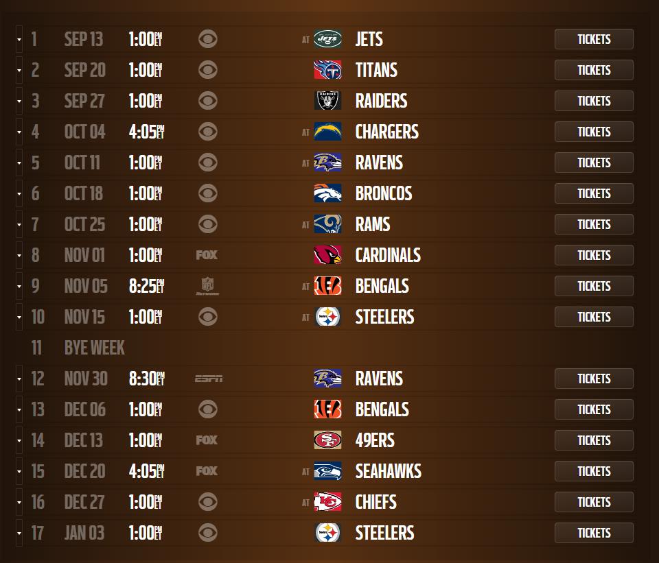 browns schedule