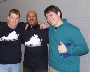 Mike E. King (right) and his father, Mike King, Jr (left) with a fan at a show.
