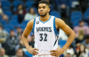 Jan 10, 2016; Minneapolis, MN, USA; Minnesota Timberwolves center Karl-Anthony Towns (32) looks on during the second half against the Dallas Mavericks at Target Center. The Mavericks won 93-87. Mandatory Credit: Jesse Johnson-USA TODAY Sports