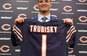 Apr 28, 2017; Lake Forest, IL, USA; Chicago Bears quarterback Mitchell Trubisky holds up a jersey during a press conference at Halas Hall. Mandatory Credit: Patrick Gorski-USA TODAY Sports
