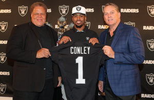 This is a photo of The Oakland Raiders 2017 first round draft pick Gareon Conley during a press conference at The Oakland Raiders Practice Facility in Alameda, California.  April 28, 2017.