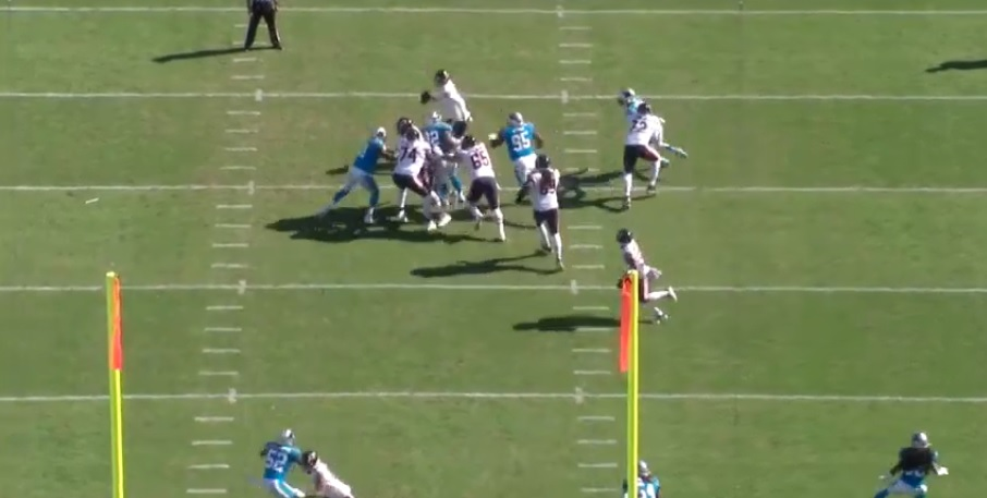 The Bears offensive line blows their assignments before Nick Foles throws an interception.