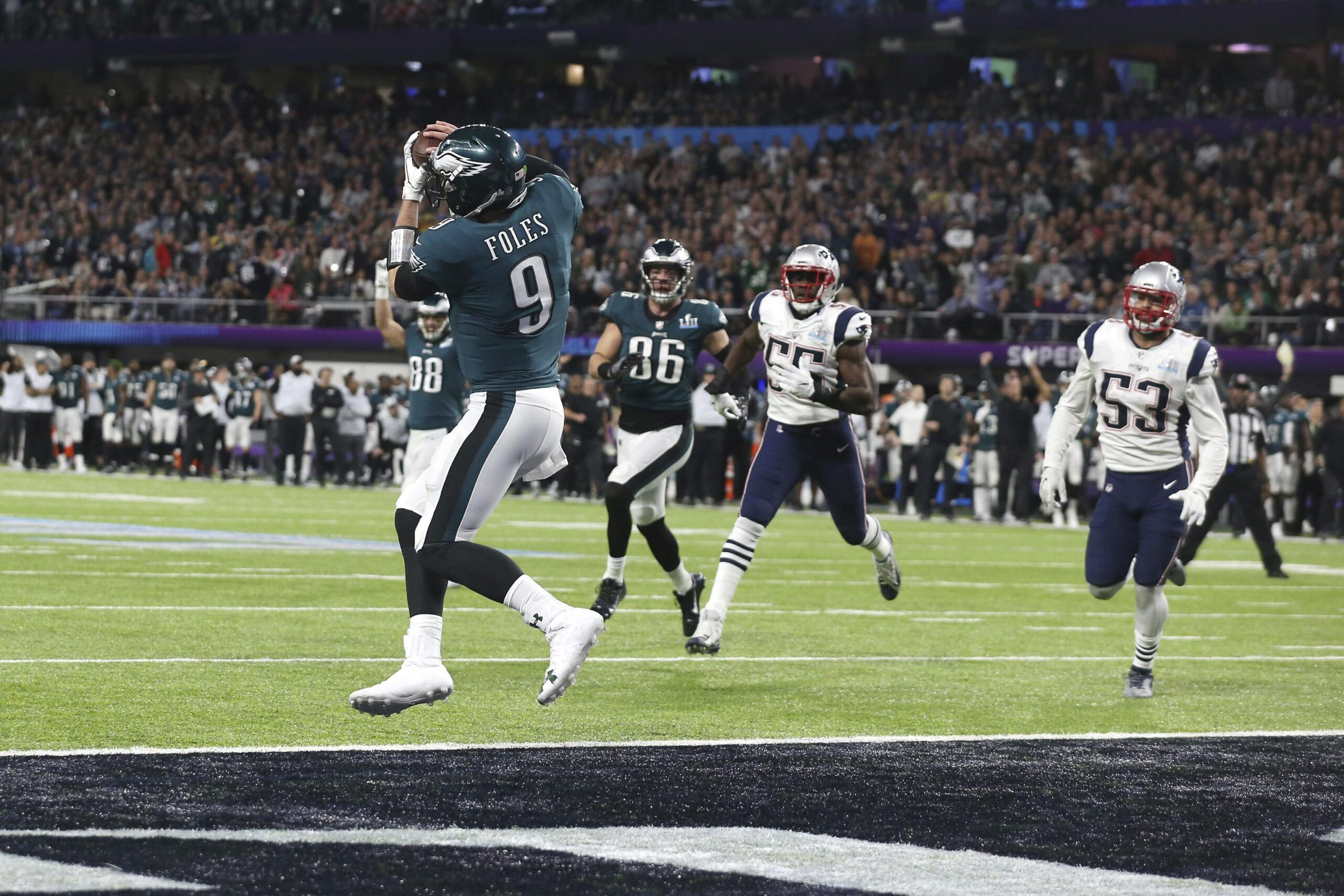 Nick Foles scores a touchdown on the famous Philly Special in Super Bowl LII.